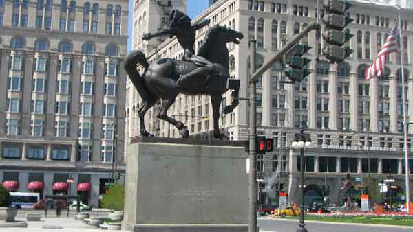 "<div class=""meta ""><span class=""caption-text "">Located in Congress Plaza, this statue made by Ivan Mestrovic in 1928 depicts a Native American on his horse. One of two Native American sculptures, this particular one is named, ""The Spearman"" because of the way his arms are held. The other sculpture, directly across, is named ""the Bowman."" Although both look like their weapons have been taken out, Mestrovic wanted viewers to use their imagination. These sculptures are located between S. Michigan Ave. and E. Congress Pkwy. (Joanna Wesoly/ABC 7 Chicago)</span></div>"