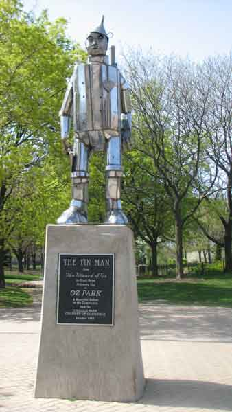 "<div class=""meta image-caption""><div class=""origin-logo origin-image ""><span></span></div><span class=""caption-text"">Oz Park, located in the Lincoln Park neighborhood of Chicago, was built in 1974. Fans came together to honor and name the park after their favorite author; Lyman Frank Baum, who created ''The Wizard of Oz'' and lived in the area during the 1890s. The 13-acre park has a walking/bike trail, a playground called Dorothy's Playlot, an athletic field, and Emerald Gardens. Statues of the main characters have been added in the years after to keep its spirit. Here, the Tin Man was assembled in October of 1995 by John Kearney using the artists specialty; automobile parts. This sculpture is located at 2021 N. Burling St. (Joanna Wesoly/ABC 7 Chicago)</span></div>"