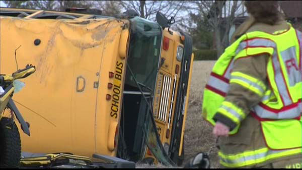 A school bus was involved in a crash at Route 173 and Kilbourne in far north suburban Wadsworth in Lake County, Ill.