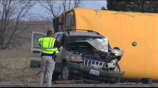 "<div class=""meta image-caption""><div class=""origin-logo origin-image ""><span></span></div><span class=""caption-text"">A school bus was involved in a crash at Route 173 and Kilbourne in far north suburban Wadsworth in Lake County, Ill. </span></div>"
