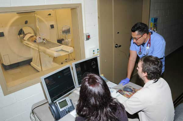 "<div class=""meta ""><span class=""caption-text "">Dr. Carlos Sanchez, an associate veterinarian for the Chicago Zoological Society (pictured standing), looks at a CT image of a Mexican gray wolf's head.  (Jim Schulz/Chicago Zoological Society)</span></div>"