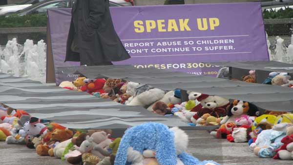 "<div class=""meta ""><span class=""caption-text "">An estimated 3,000 cases of child sexual abuse go unreported in Chicago annually. On Monday, April 30, 2012, at the Daley Plaza, the Chicago Children's Advocacy Center hosted Voices for 3,000, an exhibit and rally featuring thousands of stuffed animals representing the children who suffer in silence.  (ABC 7 Chicago/Joanna Wesoly)</span></div>"