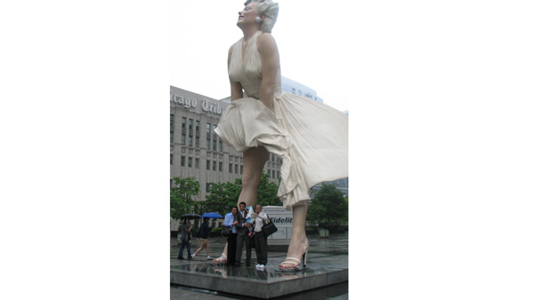 Unveiled in July of 2011, this 26-foot-tall Marilyn Monroe sculpture by Seward Johnson strikes the same pose as she did in the movie, &#34;The Seven Year Itch.&#34; Located in Pioneer Court at 401 N. Michigan Ave., the &#34;Forever Marilyn&#34; statue will be taken down and moved on Monday, May 7, 2012 to Palm Springs, Calif. <span class=meta>(ABC 7 Chicago&#47;Joanna Wesoly)</span>