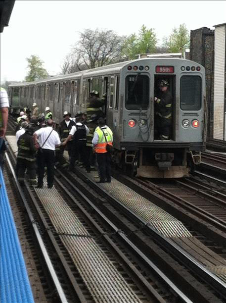 A CTA Red Line train derailed in the Lincoln Park neighborhood, Thursday, May 9, 2013, disrupting service on the Brown and Red lines. Viewer image submitted via useeit.abc7chicago.com