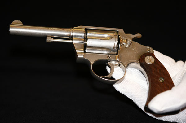 "<div class=""meta ""><span class=""caption-text "">A handgun once owned by notorious gangster ""Al"" Capone, is displayed at Christie's auction house, London, Tuesday, June 21, 2011. The Colt .38 revolver will be going up for auction this week, and is expected to sell for between 50,000 pounds ($80,899/56,650 euro) and 70,000 pounds ($113,258/79,315 euro). (AP Photo/Tim Hales)</span></div>"