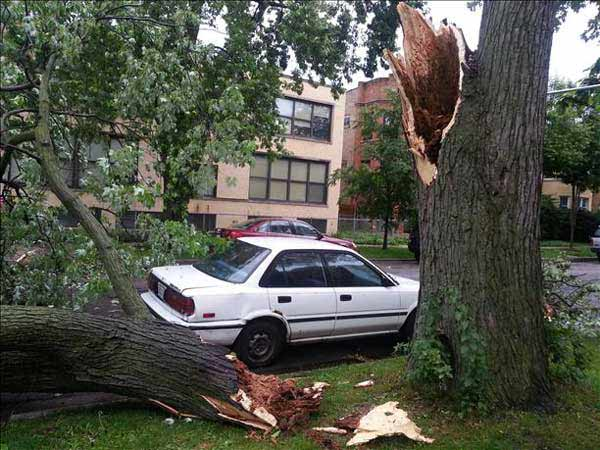 "<div class=""meta ""><span class=""caption-text "">A line of fast-moving storms struck right around Monday's evening rush hour, downing trees and leaving thousands without power.  (ABC7 viewer photo)</span></div>"