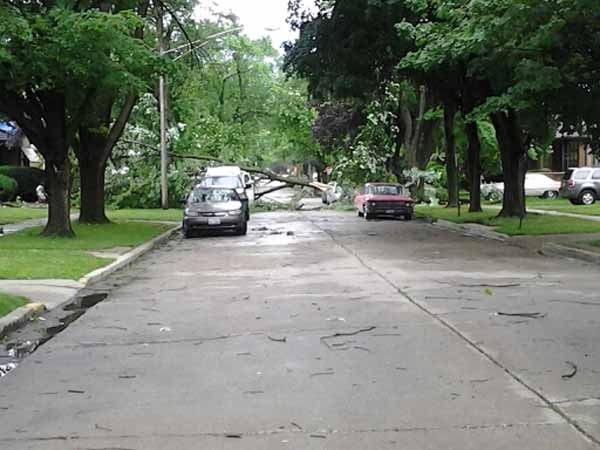 A line of fast-moving storms struck right around Monday&#39;s evening rush hour, downing trees and leaving thousands without power.  <span class=meta>(ABC7 viewer photo)</span>