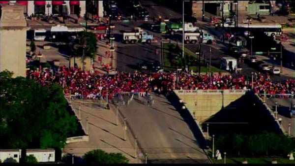 "<div class=""meta image-caption""><div class=""origin-logo origin-image ""><span></span></div><span class=""caption-text"">Fans lined up early for the Chicago Blackhawks parade and rally on  Friday, June 28, 2013. </span></div>"