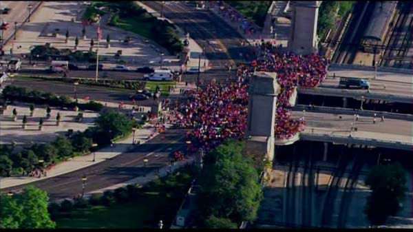 "<div class=""meta ""><span class=""caption-text "">Fans lined up early for the Chicago Blackhawks parade and rally on  Friday, June 28, 2013. </span></div>"