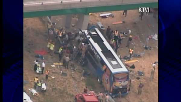 "<div class=""meta ""><span class=""caption-text "">Illinois State Police confirm one person is dead after a double-decker Megabus travelling from Chicago to Kansas City blew a tire before slamming into a bridge in southern Illinois on Thursday, August 2, 2012. Read more.</span></div>"