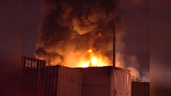 A massive fire at a Brighton Park warehouse rekindled early Thursday morning on the city&#39;s Southwest Side. <span class=meta>(WLS Photo)</span>