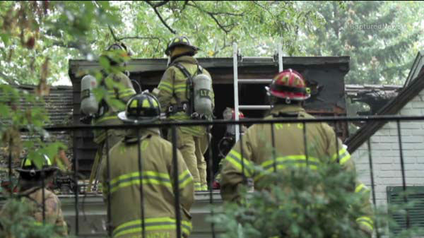 "<div class=""meta ""><span class=""caption-text "">A lightning strike may have sparked a house fire in north suburban Lake Forest, Ill., on September 19, 2013.  (WLS Photo)</span></div>"