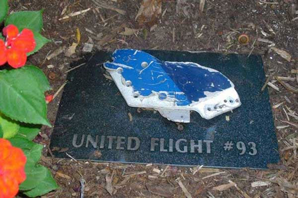 A piece of the fuselage of United Airlines Flight #93 that crashed near Shanksville, PA on September 11, 2001 is on display in a memorial garden at the FBI&#39;s training facility in Quantico, VA <span class=meta>(WLS Photo&#47; ABC7&#39;s Ben Bradley)</span>