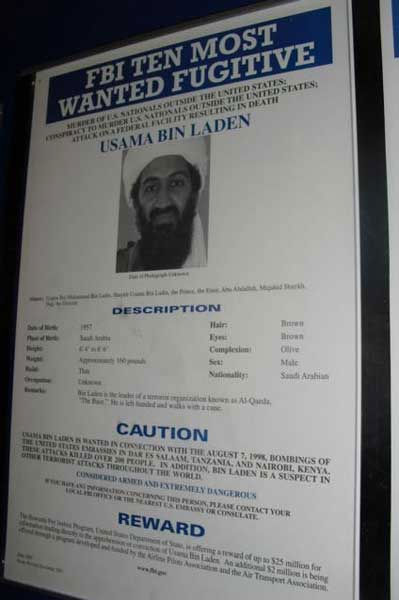 A poster displaying the FBI&#39;s most wanted man is on display at headquarters in Washington, D.C. <span class=meta>(WLS Photo&#47; ABC7&#39;s Ben Bradley)</span>