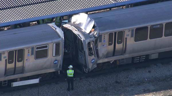 Two CTA Blue Line trains collided near Forest Park, injuring more than a dozen people on Monday, September 30, 2013.  <span class=meta>(WLS Photo)</span>
