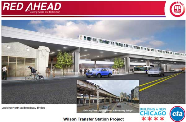 "<div class=""meta ""><span class=""caption-text "">Plans for the $203 million reconstruction project at the CTA's Red Line Wilson Station, located at Wilson and Broadway, set to being in 2013.</span></div>"