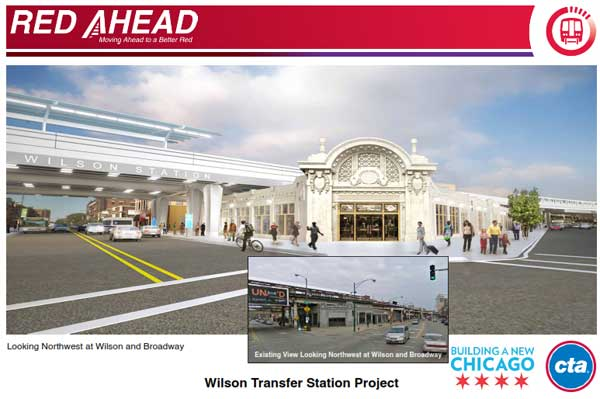 Plans for the $203 million reconstruction project at the CTA's Red Line Wilson Station, located at Wilson and Broadway, set to being in 2013.