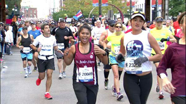 "<div class=""meta ""><span class=""caption-text "">Thousands of runners hit the streets and millions lined the route amidst tight security for the 2013 Chicago Marathon on October 13, 2013</span></div>"