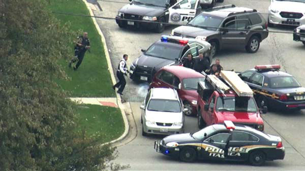 "<div class=""meta ""><span class=""caption-text "">A woman was taken into police custody after car chase involving several squad cars through Chicago?s northwest suburbs.  (WLS Photo)</span></div>"