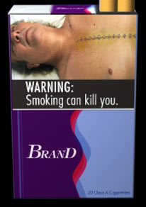 Proposed image as it would appear on a cigarette package.  (from FDA.gov)