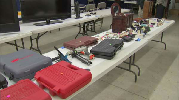 Officials in La Porte County, Ind., display items recovered during a burglary ring bust.  <span class=meta>(WLS Photo)</span>