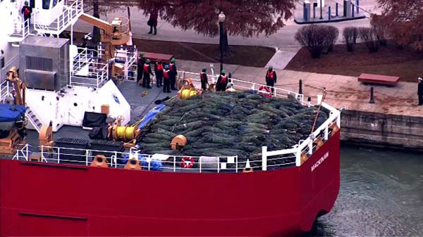 The Christmas Tree Ship arrived in Chicago on December 6, 2013. The Coast Guard Cutter Mackinaw left its port in Cheboygan last month and sailed Lake Michigan to arrive at Navy Pier. <span class=meta>(WLS Photo)</span>