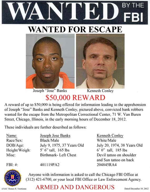 "The FBI is offering a $50,000 reward for information leading to the capture of Kenneth Conley and Joseph ""Jose"" Banks."
