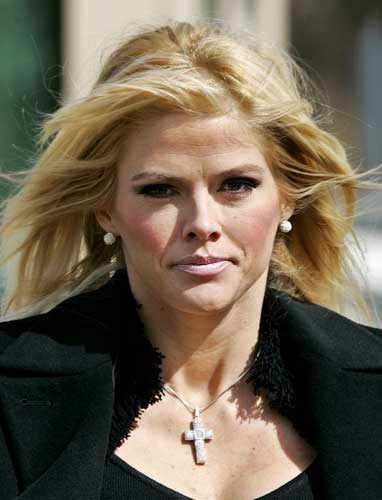 Anna Nicole Smith, leaves the U.S. Supreme Court, in this Feb. 28, 2006, file photo in Washington. She died in 2007. (AP Photo/Manuel Balce Ceneta,File)