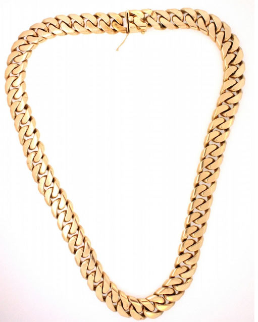 "CHAIN: (1) Men's 14ky heavy curb link chain necklace; 17.45mm wide x 4.77mm thick x 26"" long; 478.75 grams.   Full auction listing here"
