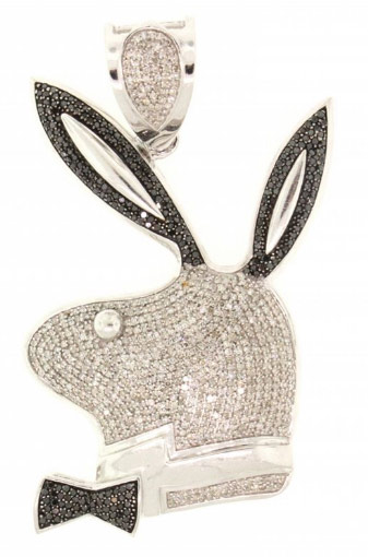 "NECKLACE: [1] Sterling silver necklace set with black cubic zirconia stones, 26 3/4""s, 40.5 grams; and [1] 10k WG bunny pendant pave' set with rd diamonds, TWA 2.70 cts, I/J, SI2-I2; 23.3 grams (4 stones missing.)   Full auction listing here"