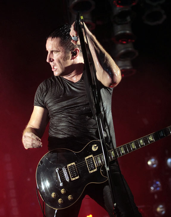 Nine Inch Nails  Nine Inch Nails' Trent Reznor performs during the Bonnaroo Arts and Music Festival.  (AP Photo/Dave Martin)