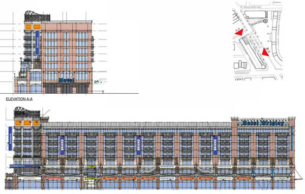 "<div class=""meta ""><span class=""caption-text "">Rendering of proposed hotel, health club, dining and retail near Wrigley FIeld. Provided by the Chicago Cubs. The 175-room hotel, health club, dining and retail development Cubs owner Tom Ricketts has proposed building at the northwest corner of Clark and Addison streets. The 91-foot tall structure would have seven floors with advertisements appearing on the orange panels near the top of the building and the blue ?blade signs? on the front and sides of the building. ..OUTSIDE TRIBUNE CO.- NO MAGS,  NO SALES, NO INTERNET, NO TV, CHICAGO OUT, NO DIGITAL MANIPULATION... (WLS Photo/ Steven Jacobsen)</span></div>"