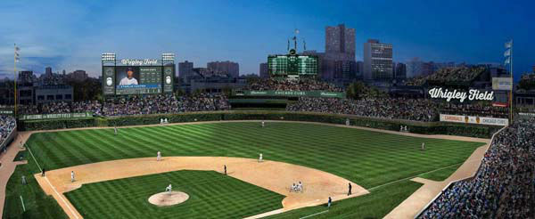 Rendering of proposed modifications to Wrigley FIeld. Provided by the Chicago Cubs. This rendering of Wrigley Field shows the proposed 6,000-square-foot video board in left field, including advertising on either side and on top. The drawing also includes a new, 1,000-square-foot ribbon advertisement in right field,&curren; a new LED board in front of the left-field bleachers, advertisements near the left and right-field foul poles and a new LED board in centerfield above the batter?s eye backdrop. In all instances where Wrigley Field appears in the rendering, an advertisement would take its place.  ..OUTSIDE TRIBUNE CO.- NO MAGS,  NO SALES, NO INTERNET, NO TV, CHICAGO OUT, NO DIGITAL MANIPULATION... <span class=meta>(WLS Photo)</span>