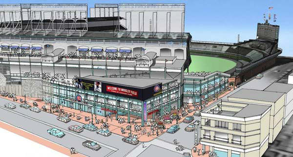 Rendering of proposed modifications to the Sheffield and Addison corner of Wrigley FIeld. Provided by the Chicago Cubs. The new structure housing a new 14,000-square-foot Captain Morgan Club would feature an additional level and a deck on top, which team officials said would alleviate congestion the club?s current outdoor patio creates on the sidewalk at street level. The new building also would include a team store and space for the visitor?s club house. Signage on top of the structure also would include advertisements.  ..OUTSIDE TRIBUNE CO.- NO MAGS,  NO SALES, NO INTERNET, NO TV, CHICAGO OUT, NO DIGITAL MANIPULATION... <span class=meta>(WLS Photo&#47; Steven Jacobsen)</span>