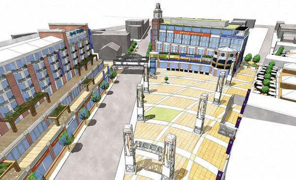 Rendering of proposed hotel along North Clark Street, left, and office building next to Wrigley FIeld. Provided by the Chicago Cubs. This rendering looks north on Clark from the intersection with Addison. On the left is the proposed hotel, health club, dining and retail development. On the right is the plaza planned by the Cubs along with an office building for the team. An elevated walkway over Clark Street would connect the two spaces. The obelisks on the plaza would feature static advertisements. ..OUTSIDE TRIBUNE CO.- NO MAGS,  NO SALES, NO INTERNET, NO TV, CHICAGO OUT, NO DIGITAL MANIPULATION... <span class=meta>(WLS Photo&#47; hrubec)</span>