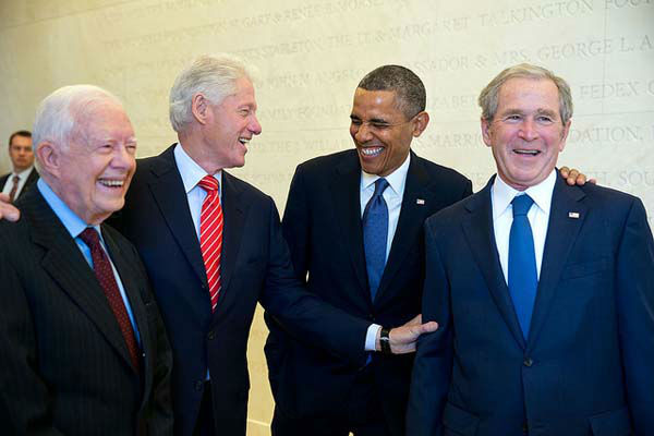 April 25, 2013: Four Presidents. One funny story. Presidents Carter, Clinton, Obama and Bush wait backstage to be introduced during the dedication of the George W. Bush Presidential Library and Museum on the campus of Southern Methodist University in Dallas.  <span class=meta>(Official White House Photo by Pete Souza)</span>