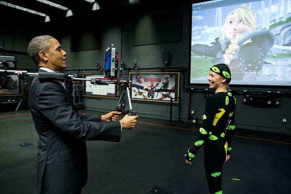Nov. 26, 2013: After watching a motion capture demonstration at the DreamWorks Animation studio in California, the President tried out the camera himself.   <span class=meta>(Official White House Photo by Pete Souza)</span>