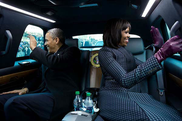 Jan. 2, 2013: The President and First Lady wave to supporters as they ride in the inaugural parade. I had asked the President if I could ride in the presidential limousine and the President joked, &#39;But Michelle and I were planning to make out.  <span class=meta>(Official White House Photo by Pete Souza)</span>