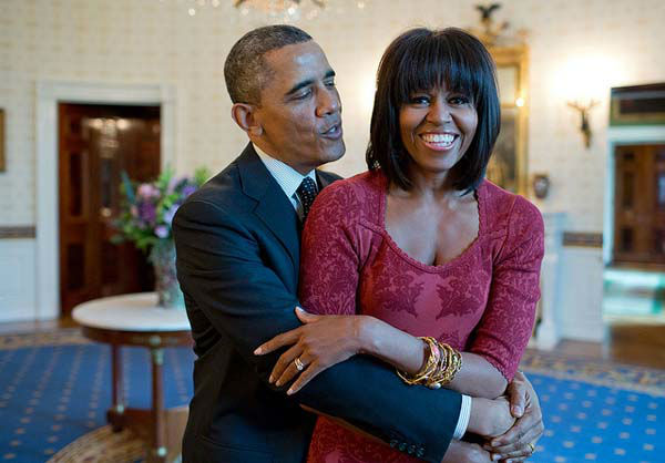 Jan. 17, 2013: The President sings &#39;Happy Birthday&#39; to the First Lady after greeting inaugural brunch guests in the Blue Room of the White House. Of course, the First Lady&#39;s new hairstyle attracted a lot of attention.   <span class=meta>(Official White House Photo by Pete Souza)</span>