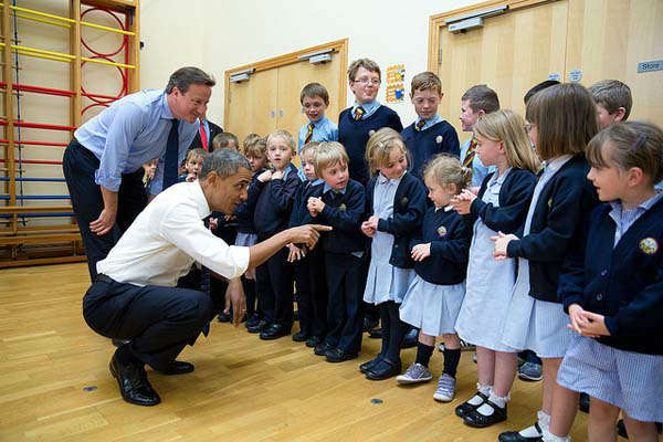 June 17, 2013: The President and British Prime Minister David Cameron visit with school children at Enniskillen Primary School, Enniskillen, Northern Ireland, during a break from the G-8 Summit.   <span class=meta>(Official White House Photo by Pete Souza)</span>