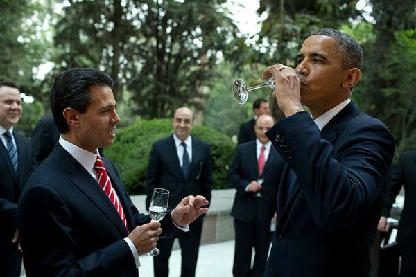 May 2, 2013: The President tastes a sip of tequila as the urging of President Enrique Pena Nieto of Mexico prior to a working dinner at Los Pinos in Mexico City.   <span class=meta>(Official White House Photo by Pete Souza)</span>