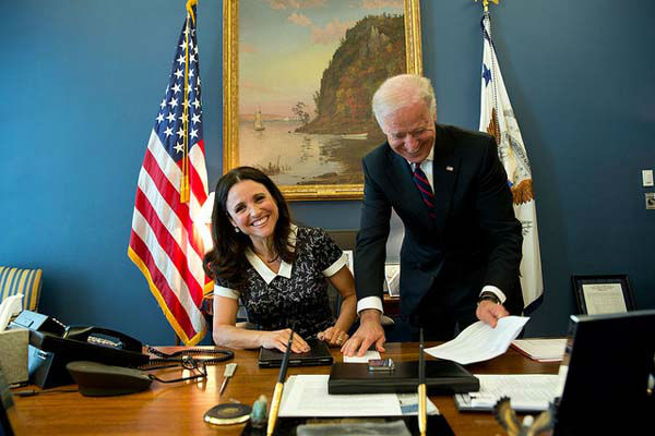 April 12, 2013: Filling in for David Lienemann, Lawrence Jackson made this photograph of the real Vice President, with Julia-Louis Dreyfus, star of the HBO show Veep&#39;, in his West Wing office of the White House.  <span class=meta>(Official White House Photo by Lawrence Jackson)</span>