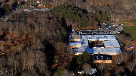 This aerial photo shows Sandy Hook Elementary School in Newtown, Conn
