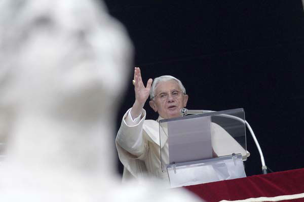 Pope Benedict XVI delivers his blessing during the Angelus prayer from his studio overlooking St. Peter&#39;s square, Vatican, Sunday, Jan. 22, 2012. &#40;AP Photo&#47;Riccardo De Luca&#41; <span class=meta>(AP Photo&#47; Riccardo De Luca)</span>