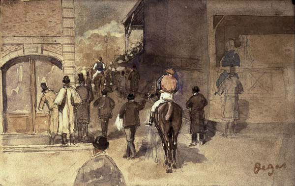 This undated photograph released by the Isabella Stewart Gardner Museum shows the watercolor &#34;La Sortie de Pesage&#34; by Degas, which was one of more than a dozen works of art burglars stole during a 1990 heist in Boston.  It remains the most tantalizing art heist mystery in the world. In the early hours of March 18, 1990, two thieves walked into Boston&#39;s elegant Isabella Stewart Gardner Museum disguised as police officers and bound and gagged two guards using handcuffs and duct tape. For the next 81 minutes, they sauntered around the ornate galleries, removing masterworks including those by Rembrandt, Vermeer, Degas and Manet, cutting some of the largest pieces from their frames. Now, 20 years later, investigators are making a renewed push to recover the paintings.  &#40;AP Photo&#47;Isabella Stewart Gardner Museum&#41;   <span class=meta>(AP Photo&#47; CAK WMS CJ**NY**)</span>