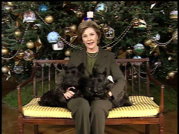 This video image provided by the White House shows first lady Laura Bush, along with Barney and Miss Beazley in &#34;Barney Cam VI: Holiday in the National Parks&#34;. &#40;AP Photo&#47;White House&#41; <span class=meta>(AP Photo&#47; Anonymous)</span>