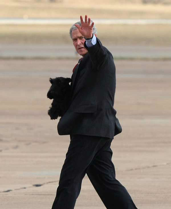 President George W. Bush waves to onlookers as he carries Barney, Friday, Dec. 26, 2008, after arriving in Waco, Texas. &#40;AP Photo&#47; Jerry Larson&#41; <span class=meta>(Photo&#47;Jerry Larson)</span>