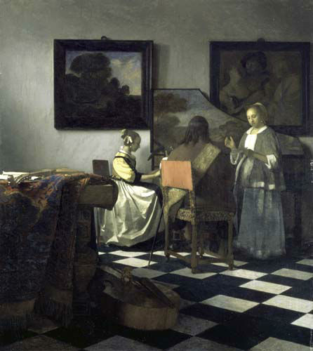 This undated photograph released by the Isabella Stewart Gardner Museum shows the painting &#34;The Concert&#34; by Vermeer, which was one of more than a dozen works of art burglars stole during a 1990 heist in Boston.  It remains the most tantalizing art heist mystery in the world. In the early hours of March 18, 1990, two thieves walked into Boston&#39;s elegant Isabella Stewart Gardner Museum disguised as police officers and bound and gagged two guards using handcuffs and duct tape. For the next 81 minutes, they sauntered around the ornate galleries, removing masterworks including those by Rembrandt, Vermeer, Degas and Manet, cutting some of the largest pieces from their frames. Now, 20 years later, investigators are making a renewed push to recover the paintings. &#40;AP Photo&#47;Isabella Stewart Gardner Museum&#41;   <span class=meta>(AP Photo&#47; CAK WMS CJ**NY**)</span>