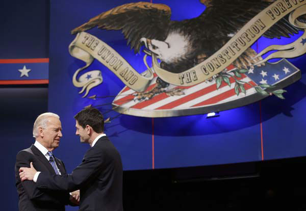 Vice President Joe Biden and Republican vice presidential candidate, Rep. Paul Ryan, R-Wis., shake hands before the start of the vice presidential debate, at Centre College in Danville, Ky., Thursday, Oct. 11, 2012. &#40;AP Photo&#47;Pablo Martinez Monsivais&#41; <span class=meta>(AP Photo&#47; Pablo Martinez Monsivais)</span>