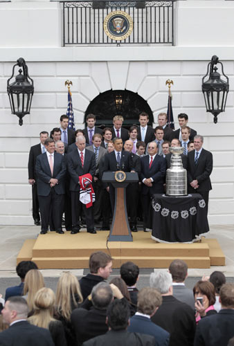 President Barack Obama speaks during a ceremony to honor the 2009-2010 NHL Stanley Cup Champion Chicago Blackhawks in the South Lawn of the White House in Washington, FridayMarch, 11, 2011. (AP Photo/Pablo Martinez Monsivais)